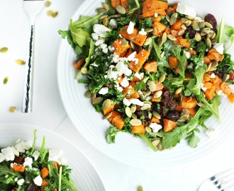 Roasted Sweet Potato Date Salad with Feta and Lemony Parsley Dressing