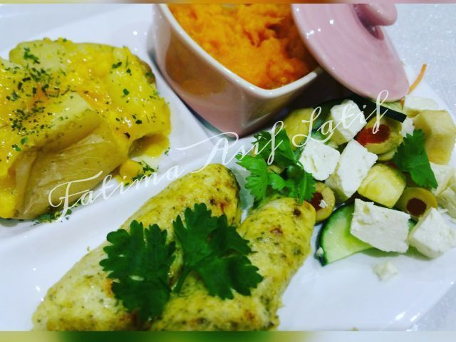 Creamy fish with creamy butternut, baked potato and salad