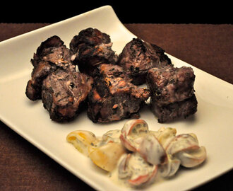 Pork Kebabs with Tomato Yogurt Sauce; Secret Recipe Club