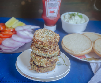 Sweet potato tikki burger- Vegan tikki served with cream cheese sauce - no onion, no garlic recipe