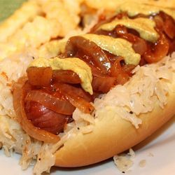~ The NYC Pushcart Onions & Sauerkraut Hot Dog ~