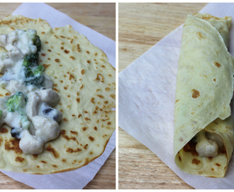 Chicken, Broccoli and Mushroom Crepes