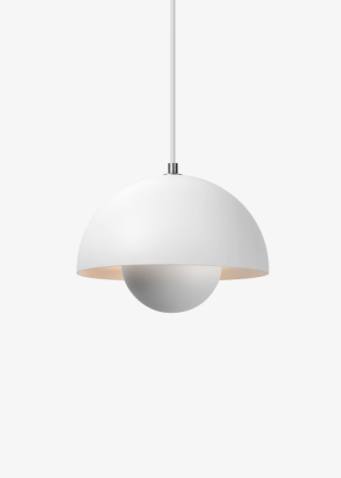&tradition - Flowerpot Pendel VP1 by Verner Panton - Lampa - White - Matt - Ø23 X H16