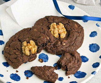 Double chocolate walnut cookies: de allerlekkerste!