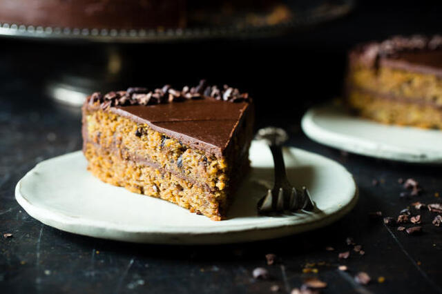 Paleo Banana Bread Cake with Chocolate Almond Ganache