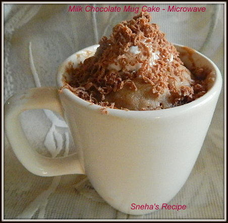 Milk Chocolate Mug Cake - Microwave