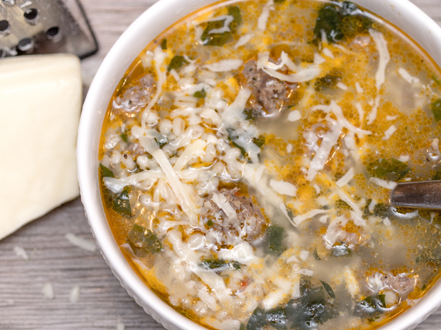 Italian Sausage Wedding Soup with Barley