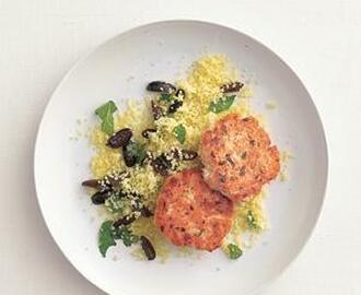 Dijon Salmon Cakes With Couscous