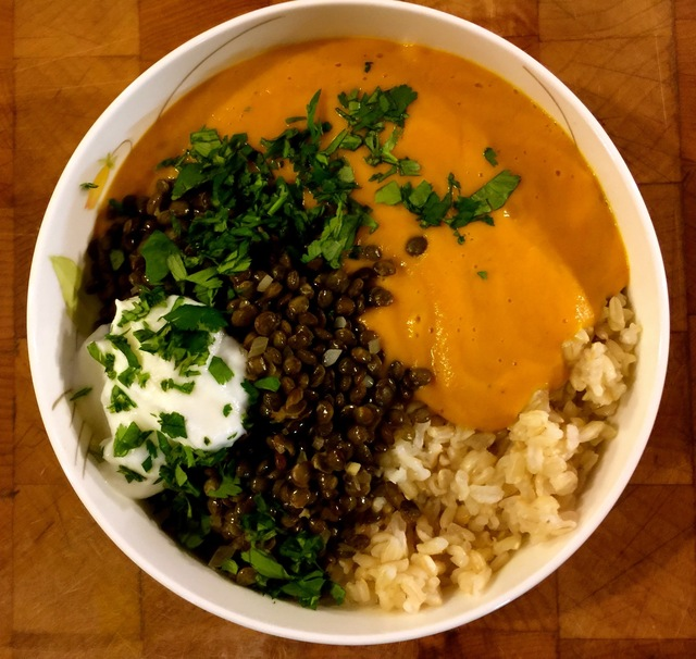 Sweet Potato and Coconut Milk with Brown Rice and Lentils