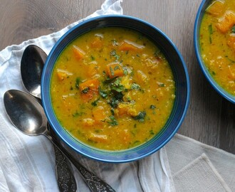 Butternut Squash Red Lentil Soup with turmeric + ginger