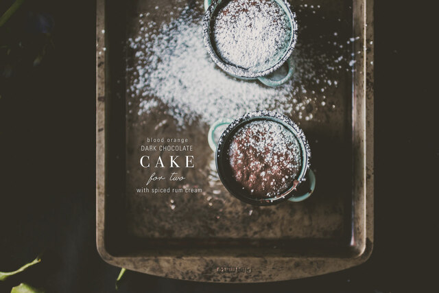 Fudge-y Blood Orange Chocolate Cake with Spiced Rum Cream, for two