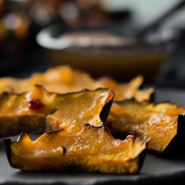 Roasted Acorn Squash Slices with Pineapple Habanero Sauce