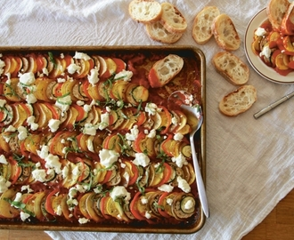 Sheet Pan Suppers – Vegetarian Ratatouille With Goat Cheese