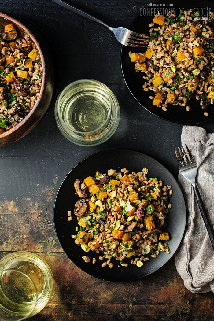 Meatless Monday: Warm Farro Salad with Roasted Mushrooms and Butternut Squash