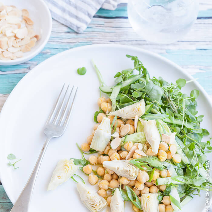 Artichoke salad with chickpeas, watercress and almonds
