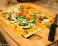 Thin crust pizza using lavash bread
