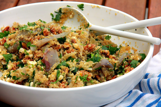 Quinoa Salad with Caramelised Shallots, Candied Walnuts, Lemon, and Parsley