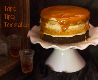 Triple Tipsy Temptation Cake _ Naked Cake with layers of Banana,Peanut Butter and Chocolate Cake with Whiskey Buttercream Frosting and a Whiskey Salted Caramel Glaze