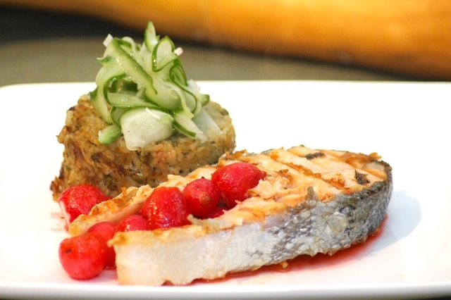 Griddled Salmon Steaks with Sticky Brown Rice, Sweet Roasted Radishes and Cucumber Salsa
