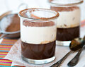 Chocolate fondant with vanilla cream in jar