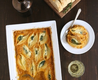 Kale and Ricotta Stuffed Shells with Butternut Squash Sauce