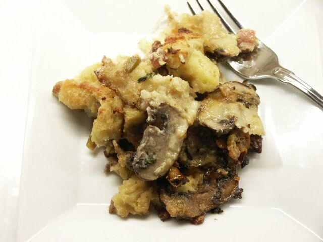 Ina's Leek and Mushroom Bread Pudding