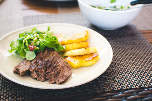 Roast Beef with Seared Pineapple & Side Salad
