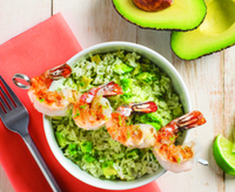 Avocado Lime Rice with Grilled Shrimp Recipe