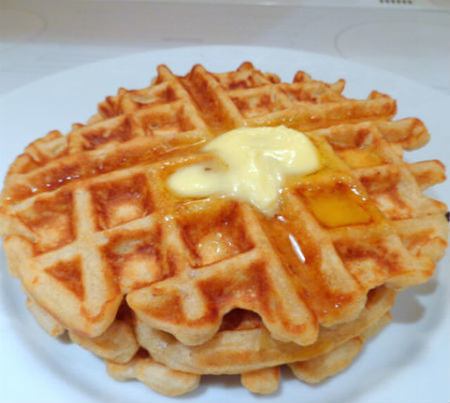 Oatmeal Waffles with Warm Cinnamon Syrup