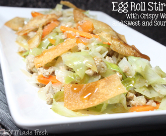 Egg Roll Stir Fry with Crispy Wontons and Sweet and Sour Sauce