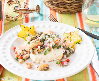 Toaster Oven Rockfish with Mussels, Shrimp, & Star Fruit Salsa