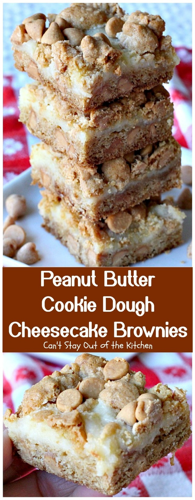 Peanut Butter Cookie Dough Cheesecake Brownies