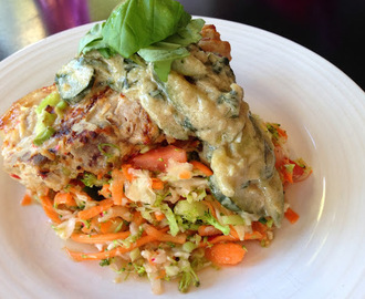 Coconut Pork Chops with Nam Jim Coleslaw and Green Curry Sauce