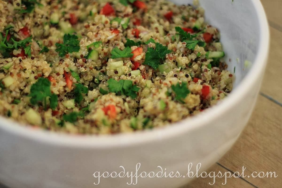 Recipe: Quinoa salad with cucumber, red pepper & fresh herbs