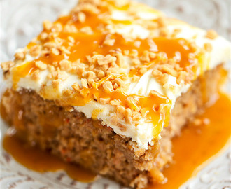 Caramel Carrot Poke Cake with Homemade Cream Cheese Frosting