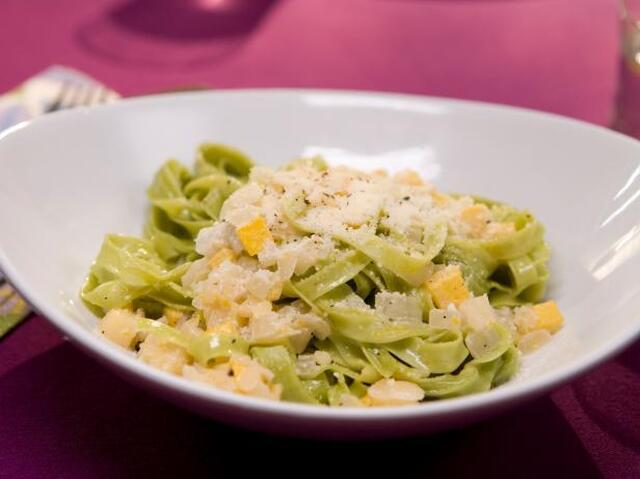 Fettuccine with Yellow Squash and Parmesan-Lemon Cream Sauce