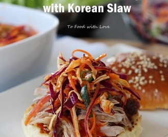 Pulled Pork Burger with Spicy Mayo and Korean Slaw