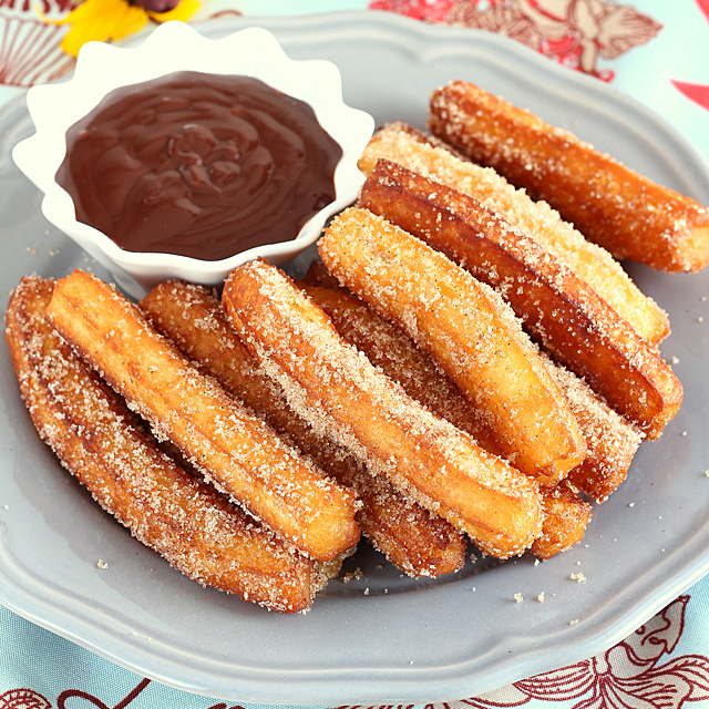 Homemade Churros with chocolate dip sauce