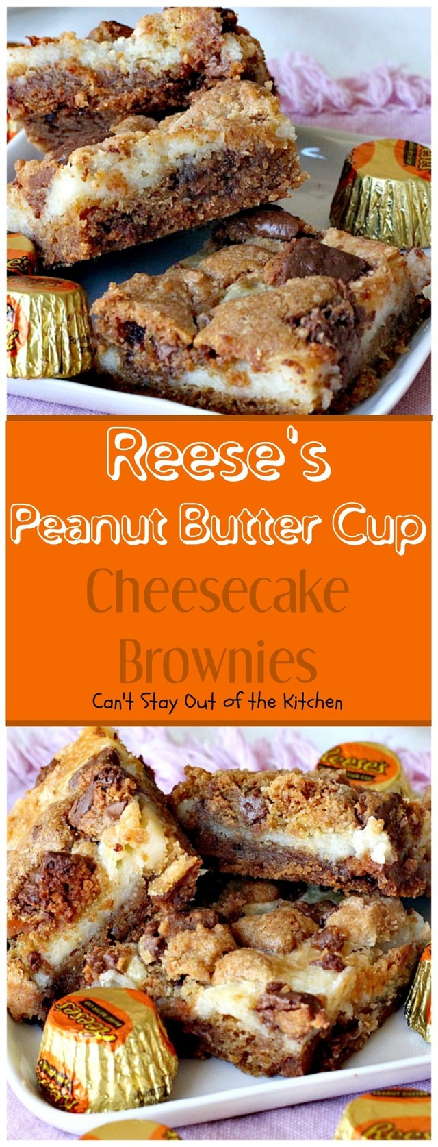 Reese's Peanut Butter Cup Cheesecake Brownies