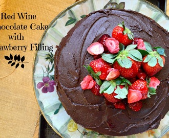Chocolate Red Wine Cake with Strawberry Filling and The Easter Bunny