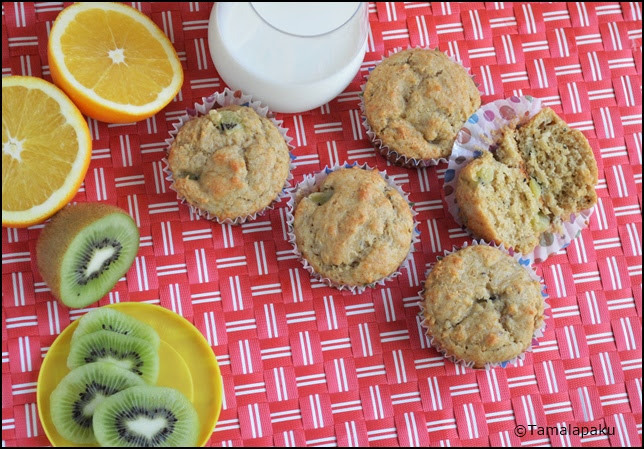 Eggless Kiwi Yogurt Muffins