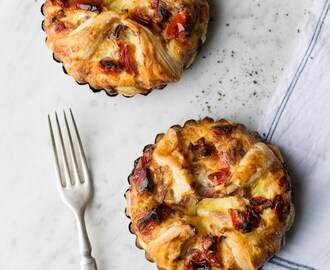 Five Cheese Soufflé with Roasted Tomatoes & Bacon