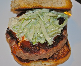 Rabbit Burgers with Buffalo Sauce and Blue Cheese Celery Slaw