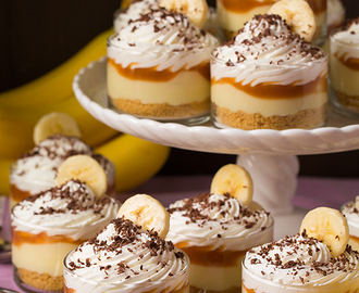 Banana Cream Pie Cups with Salted Caramel Sauce