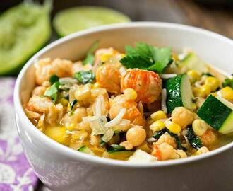Langostino Corn and Chickpea Soup