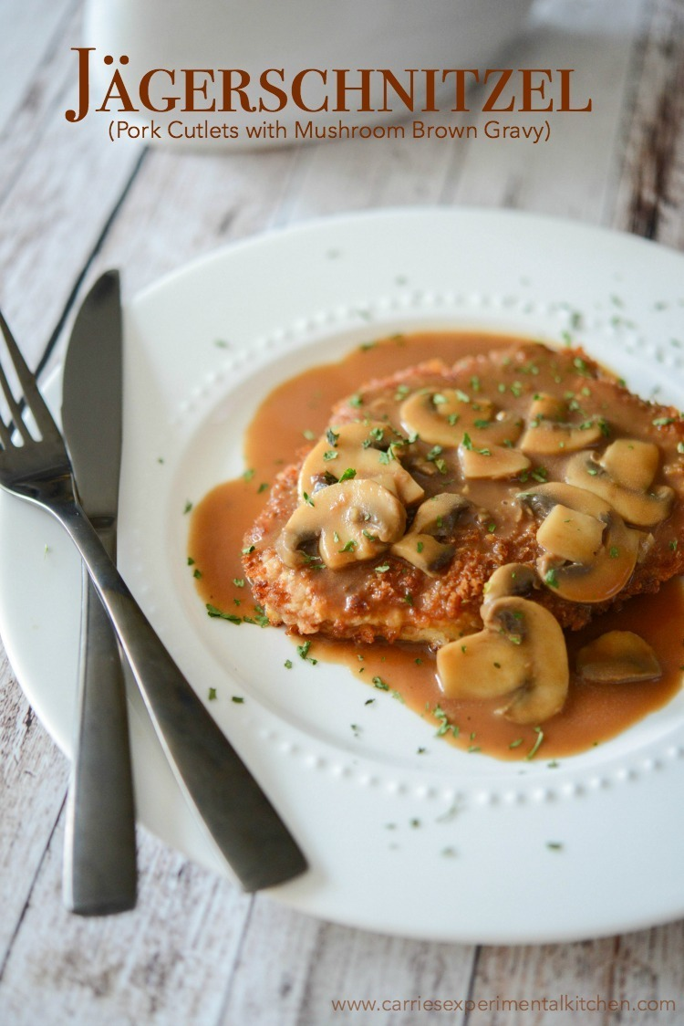 Jägerschnitzel (Pork Cutlets with Mushroom Brown Gravy)