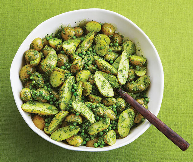 Fingerling Potato And Pea Salad With Cilantro Pesto