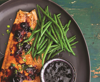 BBQ Salmon With Blueberry-Ginger Sauce