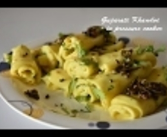 gujarati khandvi in pressure cooker recipe, hw to make gujrati khandvi quick