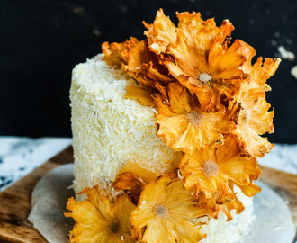 Just Smile /-/ Layered Passion fruit Butter Cake with Coconut Cream Frosting and Pineapple flowers